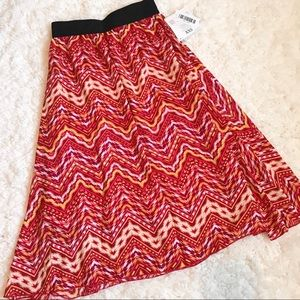 Red Chevron LuLaRoe Lola Skirt XXS